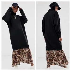 ASOS Sweat Leopard Print Hem Maxi Dress Sz 4